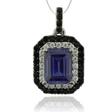 Emerald Cut Tanzanite & Silver Pendant with Zirconia