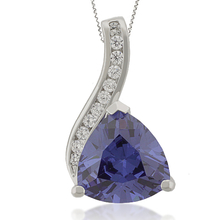 Trillion-Cut Silver Pendant with Tanzanite & Zirconia Gemstones