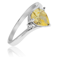 Citrine Pear Cut Silver Ring