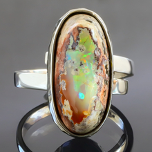 Natural Mexican Matrix Fire Opal Silver Ring 5 carat Stone