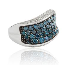 14K White Gold Blue Diamonds Ring