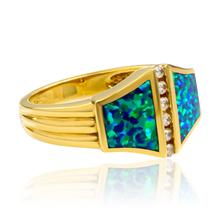 Natural Opal Ring .12 ct tw Diamonds 14K Yellow Gold