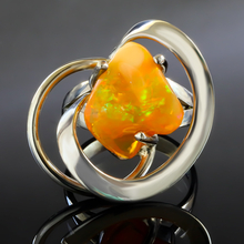 Genuine Mexican Fire Opal Silver Ring 7 carat