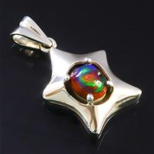 Natural Mexican Matrix Fire Black Opal Silver Pendant