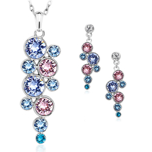 Pretty Swarovski Crystal Set With Pink And Blue Circles