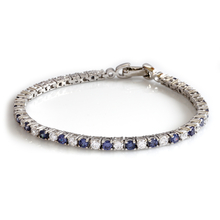 Tanzanite Simulated Diamonds Sterling Silver Tennis Bracelet
