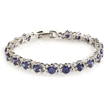 Tanzanite Sterling Silver Tennis Bracelet