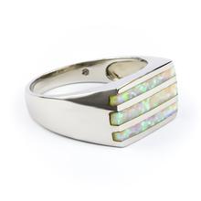 Australian White Opal Streaks Mens Ring