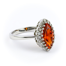 Silver Mexican Fire Opal Ring
