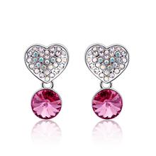 Pink Heart Swarovski Earrings