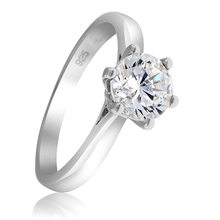 Beautiful Solitaire Engagement Ring with Sterling Silver