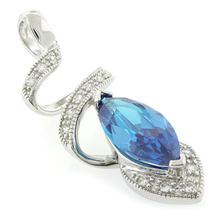Blue Topaz Silver Pendant Marquise Cut