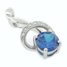 Blue Topaz Silver Pendant Round Cut