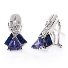 Australian Opal with Tanzanite Earrings