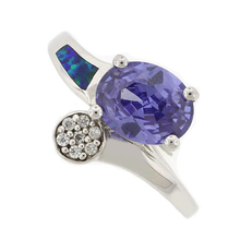 Australian Opal Silver Ring with Oval Tanzanite