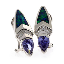 Omega Clip Australian Opal with Tanzanite Earrings