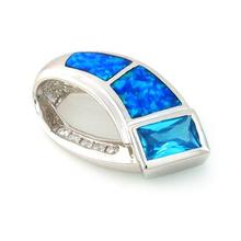 True Glamour Australian Opal Pendant with Blue Topaz