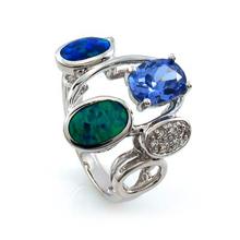 Australian Opal Ring with Tanzanite