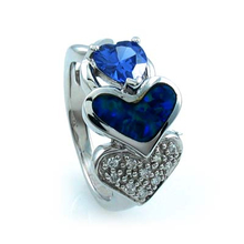 Australian Opal Heart Ring with Tanzanite