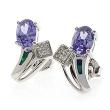 Oval Cut Tanzanite Opal Post Back Earrings