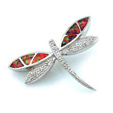 Pink Australian Opal Dragonfly Pendant