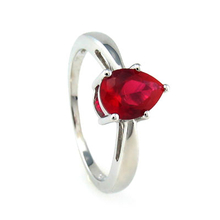 Ring With Red Ruby In Sterling Silver