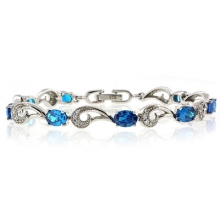 Silver Bracelet with Blue Topaz Gemstone