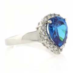 Sterling Silver Blue Topaz Ring Pear Cut Stone