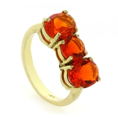 3 Stone Gold Fire Cherry Opal Ring