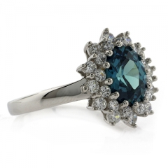 Changing Color Gemstone Silver Ring