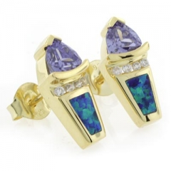 Australian Opal Tanzanite Gold Plated Earrings