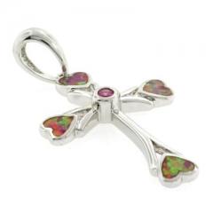 Australian Opal Cross with Pink Sapphire