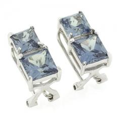 Square Cut 2 Alexandrite Sterling Silver Earrings