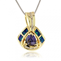 Blue Opal Trillion Cut Silver Gold Plated Pendant