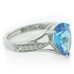 High Quality Blue Topaz Silver Ring