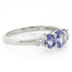 3 Stone Tanzanite Oval Cut Sterling Silver Ring