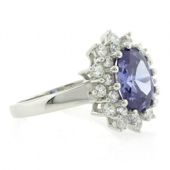 Oval Cut Tanzanite Ring with Sterling Silver