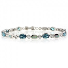 Color Change Alexandrite and White Opal Sterling Silver Bracelet