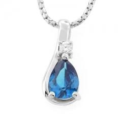 Blue Topaz Silver Drop Solitaire Pendant
