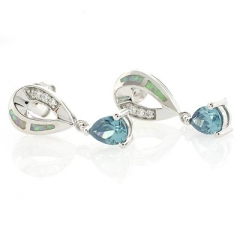White Australian Opal and Alexandrite Silver Earrings