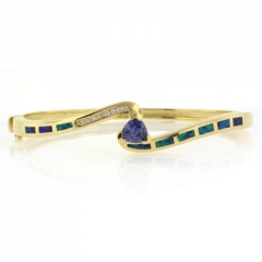 Blue Opal and Tanzanite Bangle in 925 Sterling Silver