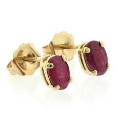 Ruby 14k Yellow Gold Stud Earrings