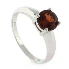 Authentic Red Garnet Sterling Silver Solitaire Ring