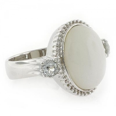 Genuine White Jade and Topaz Silver Ring