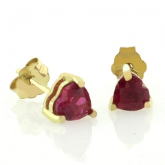 10K Yellow Gold Ruby Heart Earrings