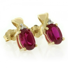 10K Yellow Gold Ruby Earrings