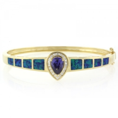 14K Yellow Gold Plated Opal and Tanzanite Silver Bangle
