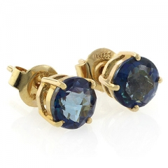 14K Yellow Gold Genuine London Blue Topaz Studs