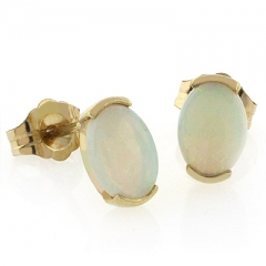 Natural Mined White Opal Studs in 14k Yellow Gold