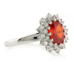 Beautiful Oval Cut Fire Cherry Opal Silver Ring